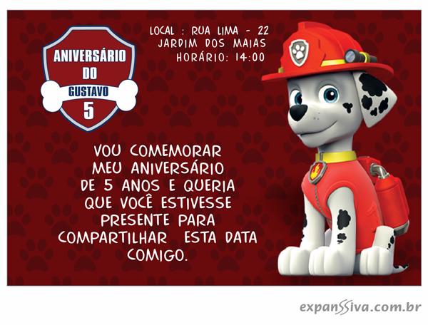 Convite Aniversário Patrulha Canina