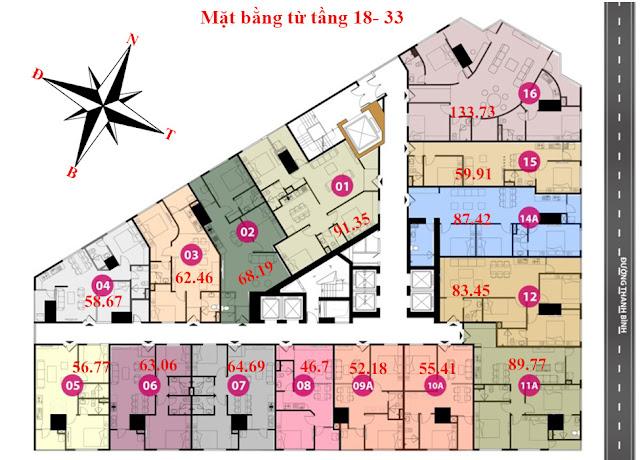 Mặt bằng tầng 18 - 33 - Chung cư Tháp doanh nhân