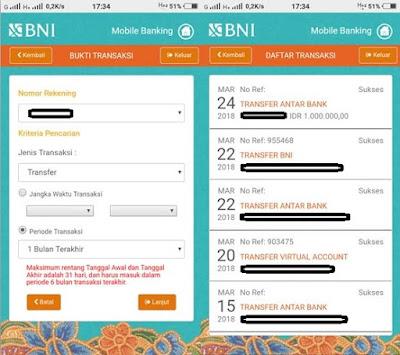 Cara Melihat Bukti Transfer BNI Mobile Banking