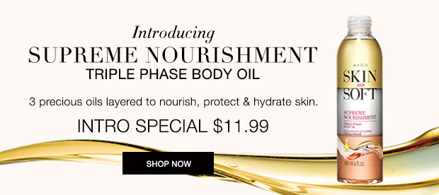 Skin So Soft Supreme Nourishment Triple Phase Body Oil. 3 precious oils layered to nourish, protect & hydrate. Shop https://jenbertram.avonrepresentative.com/