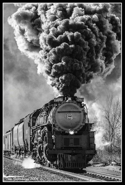 Union Pacific 3985 blast smoke into the cold air at Altoona, KS.