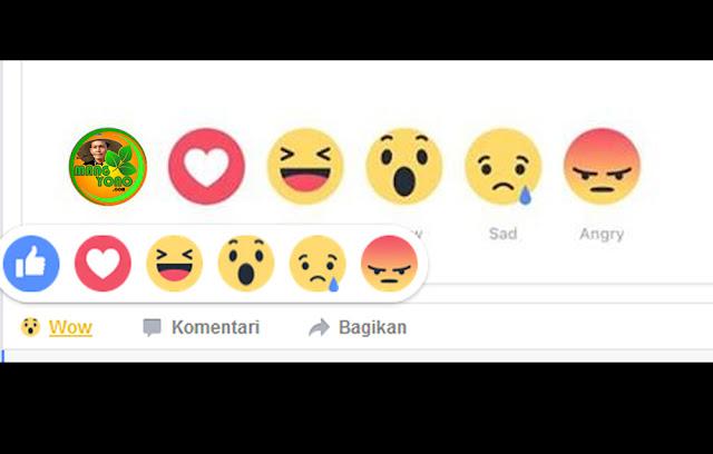 Fitur Reaction Facebook ( tombol Like bisa diganti menjadi Love, Haha, Wow, Sad atau Angry )