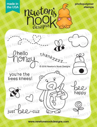 Winston's Honeybees | 4 x 4 Bear and Honey Stamp set | Newton's Nook Designs #newtonsnook