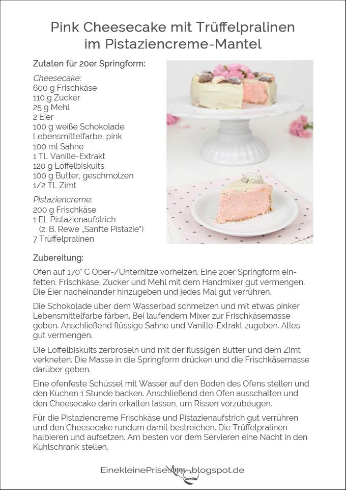 Rezept Pink Cheesecake mit Trüffel-Pralinen im Pistaziencreme-Mantel