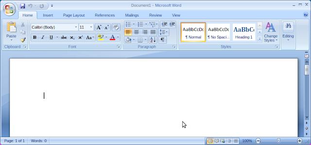 tampilan word di linux
