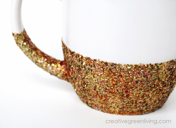 sparkly gold mug for gift giving