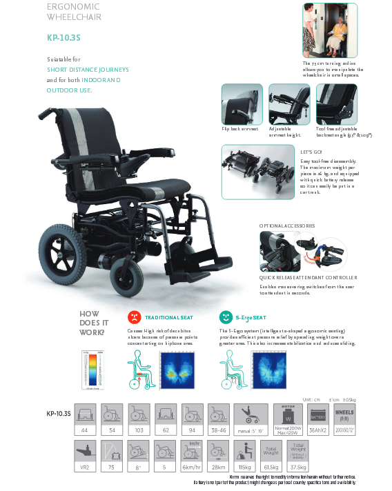 Karma KP 10 3 S Power Wheelchair Specification ~ Wheelchair