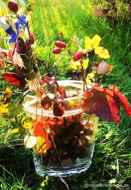 Herbstliche Deko mit Brombeerblättern und Kastanien