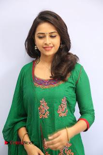 Actress Sri Divya Pictures in Green Salwar Kameez at Rayudu Team Meet  0030