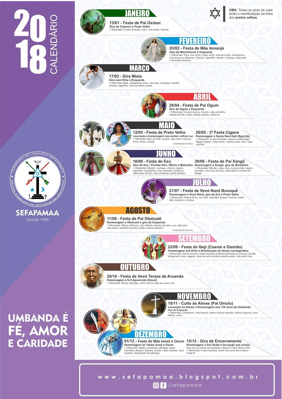 Calendário Giras e Festas de 2018 - SEFAPAMAA