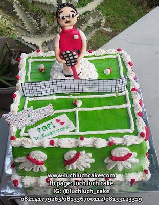 Kue Tart Ulang Tahun Tema Bulu Tangkis