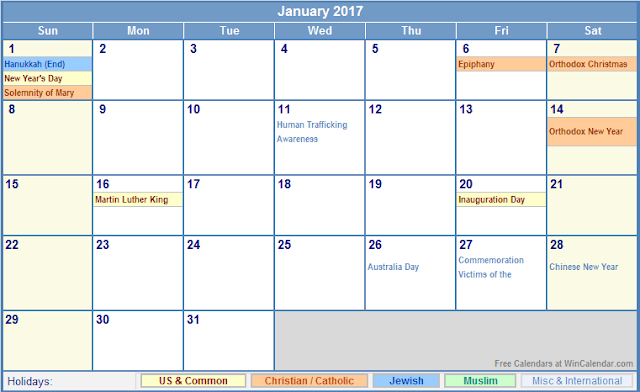 Get Printable Calendar : January 2017 Calendar with Holidays