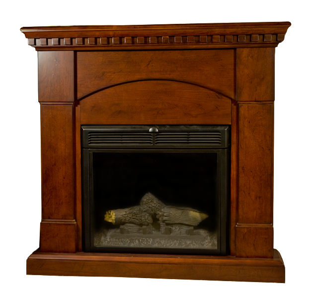 A modern electric fireplace with a detailed wood mantle and surrounding support. This one was designed to fit in a corner.