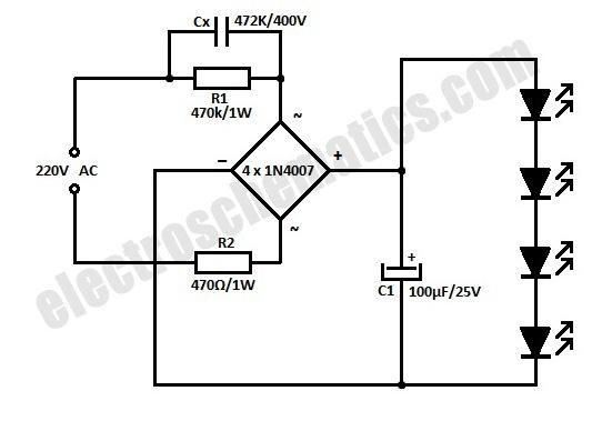 Rangkaian schema 4 led 220 v
