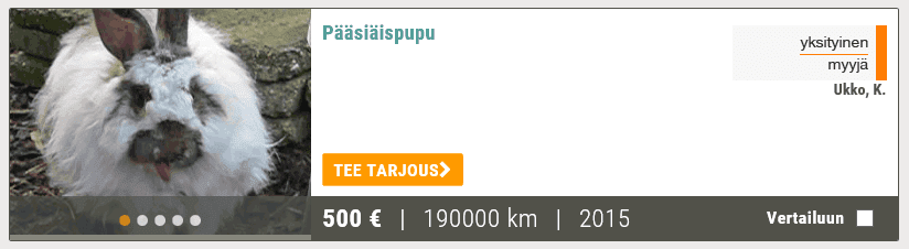 Pääsiäispupu vuosimallia 2015, ajettu 190000 kilometriä. Alkaen 500 euroa.