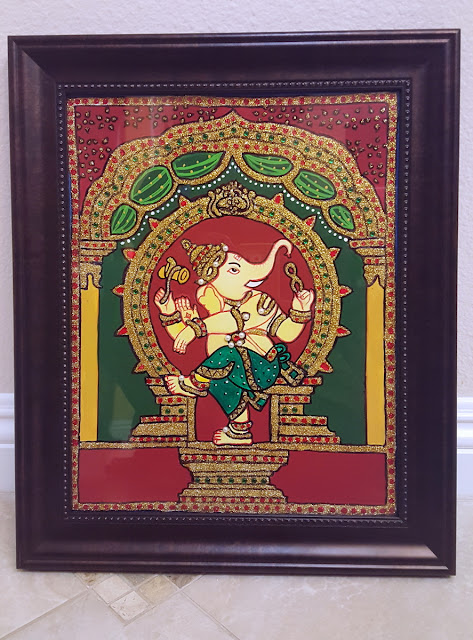 Dancing ganesh Tanjore style painting done with glitter paint