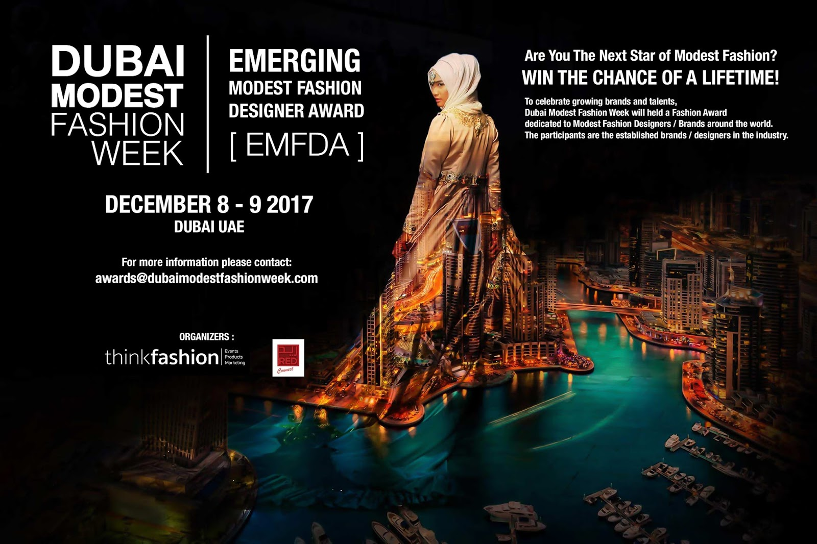 source dmfw website poster advertising the emerging modest fashion designer award