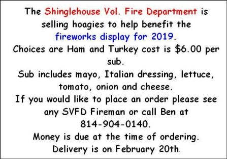 SVFD Hoagie Sale Benefits Fireworks