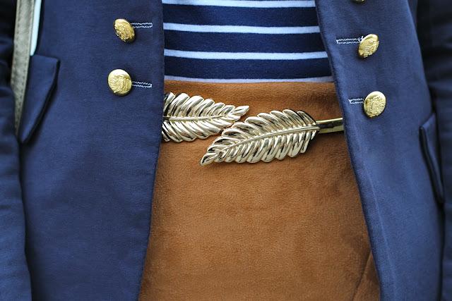 cinturón plumas dorado