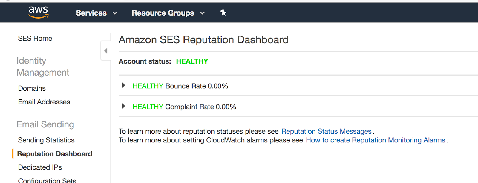 Amazon SES Email Reputation Dashboard