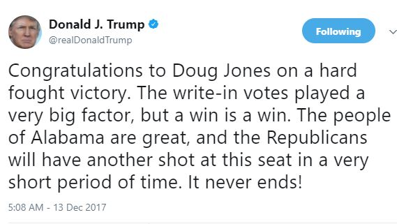 Donald Trump congratulates Doug Jones after his candidate Roy Moore lost the Alabama senate election