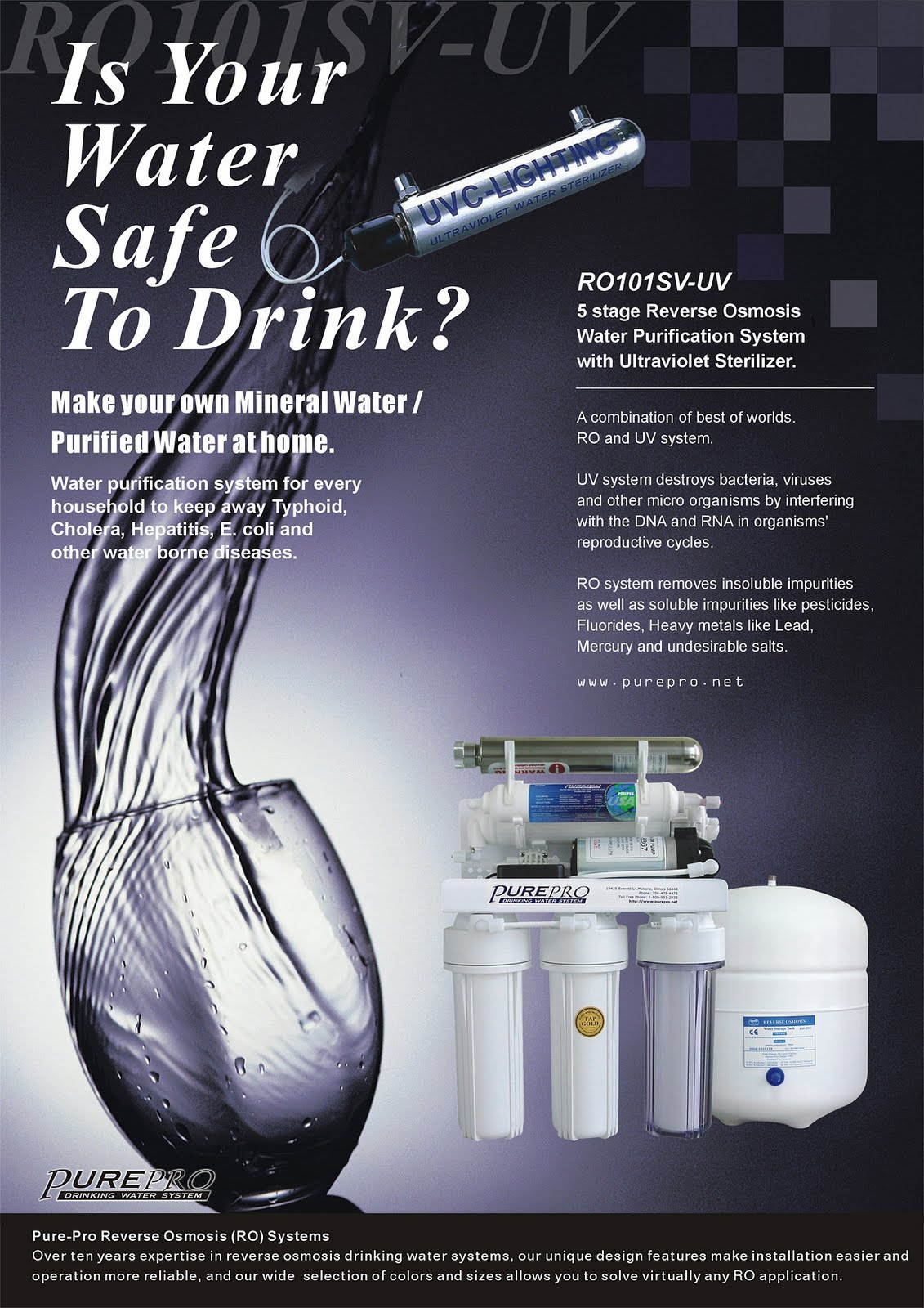 PurePro® RO101SV-UV Reverse Osmosis Pure Water Filtration System