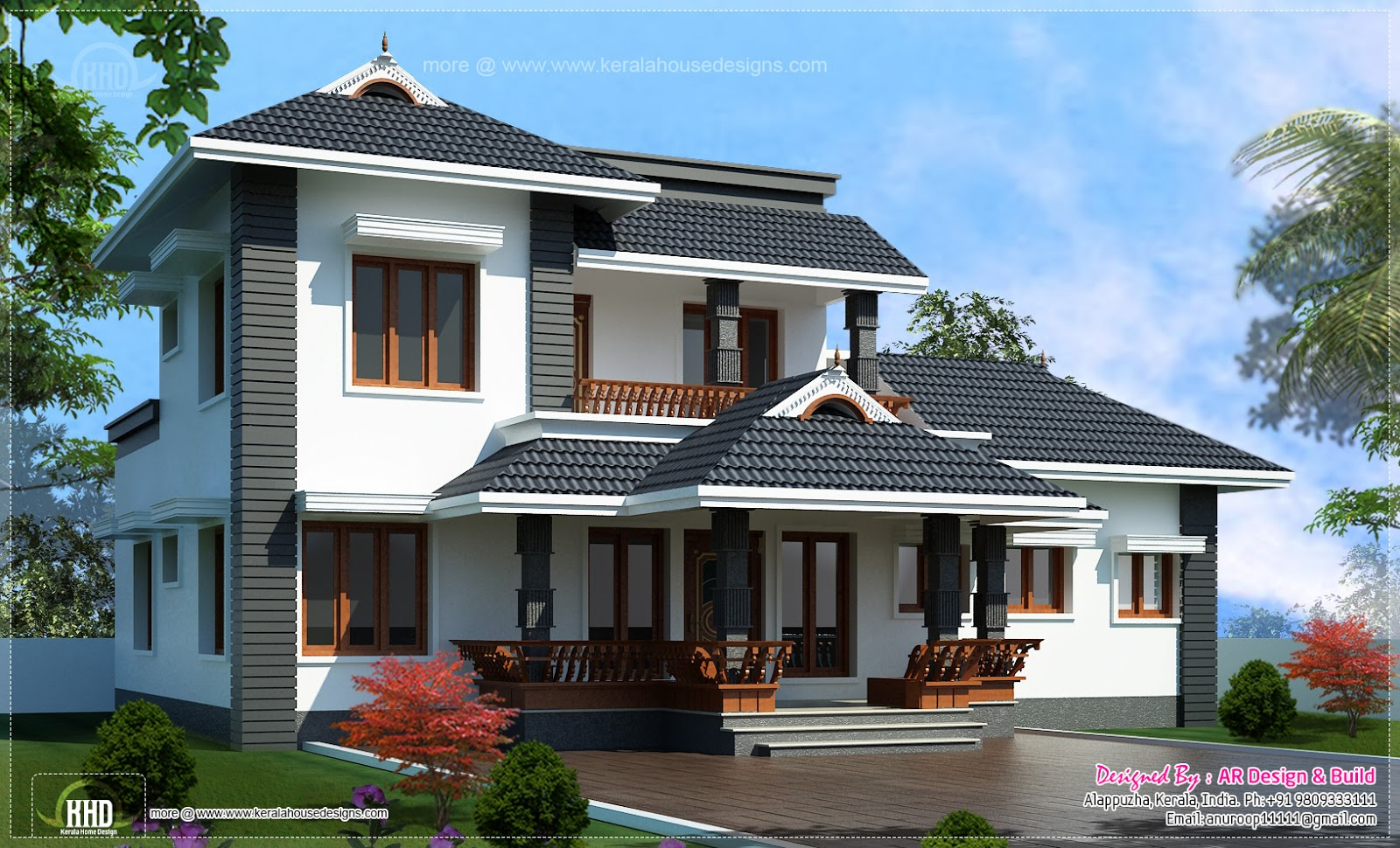 2000 4 bedroom sloping roof residence kerala for Sloped roof house plans in india