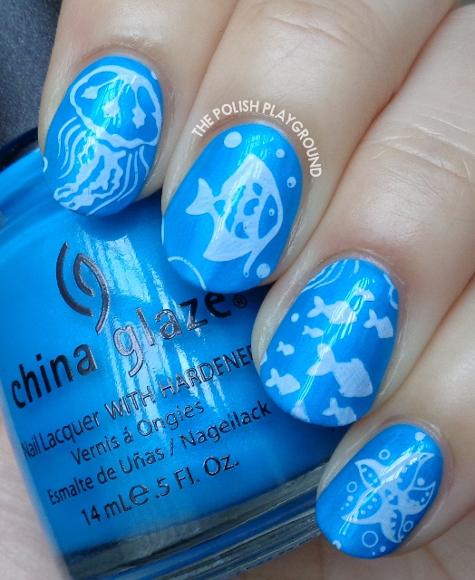 Blue Underwater Themed Stamping Nail Art