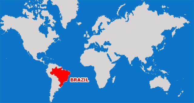 Gambar Peta letak negara Brazil