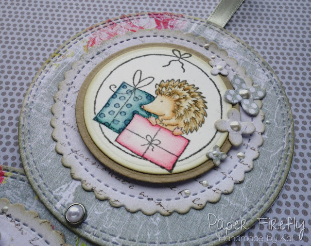 Triple circle birthday card with cute hedgehogs (images from LOTV)