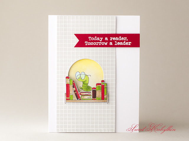 Back to School Card with Book Worm from Clearly Besotted by Sweet Kobylkin