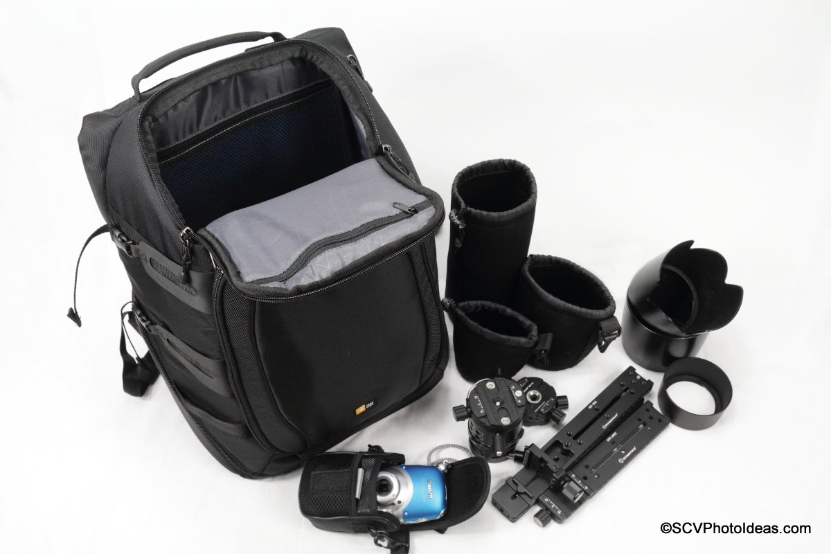 Case Logic DSB-103 w/ panorama head, P&S camera and lens hoods