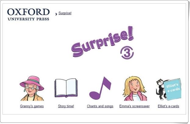 Surprise! Inglés de 3º Nivel de Educación Primaria. Editorial Oxford.