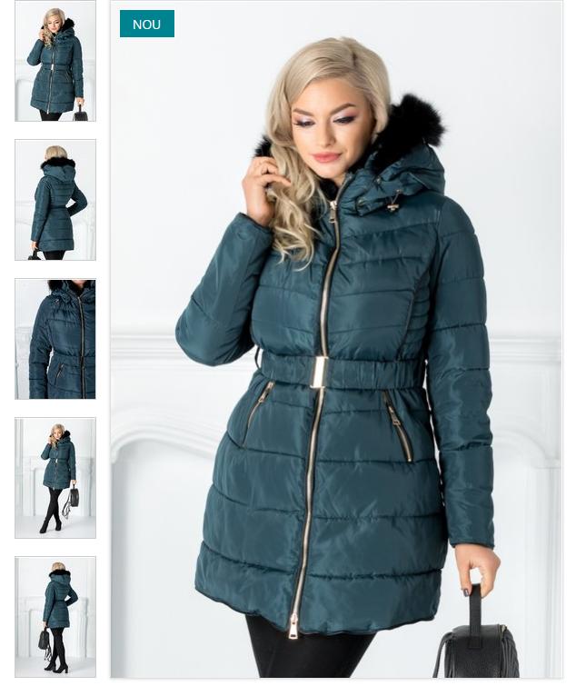 Geaca femei cu blana de iarna turcoaz frumoasa de calitate