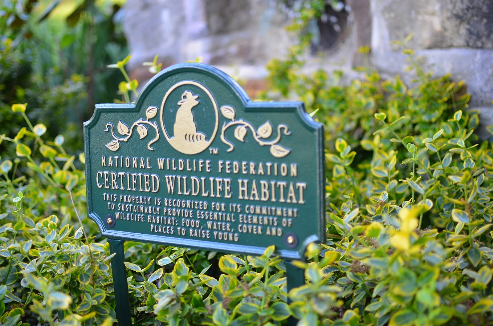 Certified Wildlife Habitat Lawn Sign Plaque at A Nest for All Seasons