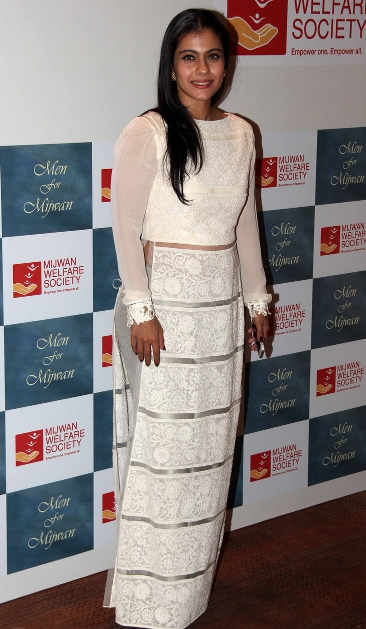 Indian Hot Actress Kajol Smiling Face Photos In White Dress At Movie Event