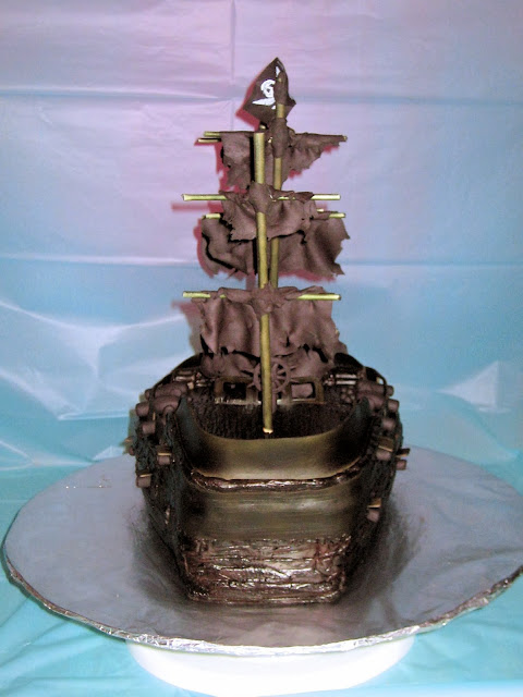 Pirate Ship Cake of The Black Pearl from Pirates of the Caribbean - Back View