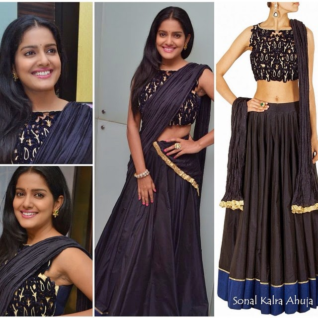 vishakha singh in sonal kalra ahuja. vishakha , vishakha singh , sonal kal ra ahuja , black , gold , lehenga traditional , indian , style , beauty , fashion , bollywood , tollywood , south india , indian ,fashion, Vishakha Singh Hot HD Images From Latest Events