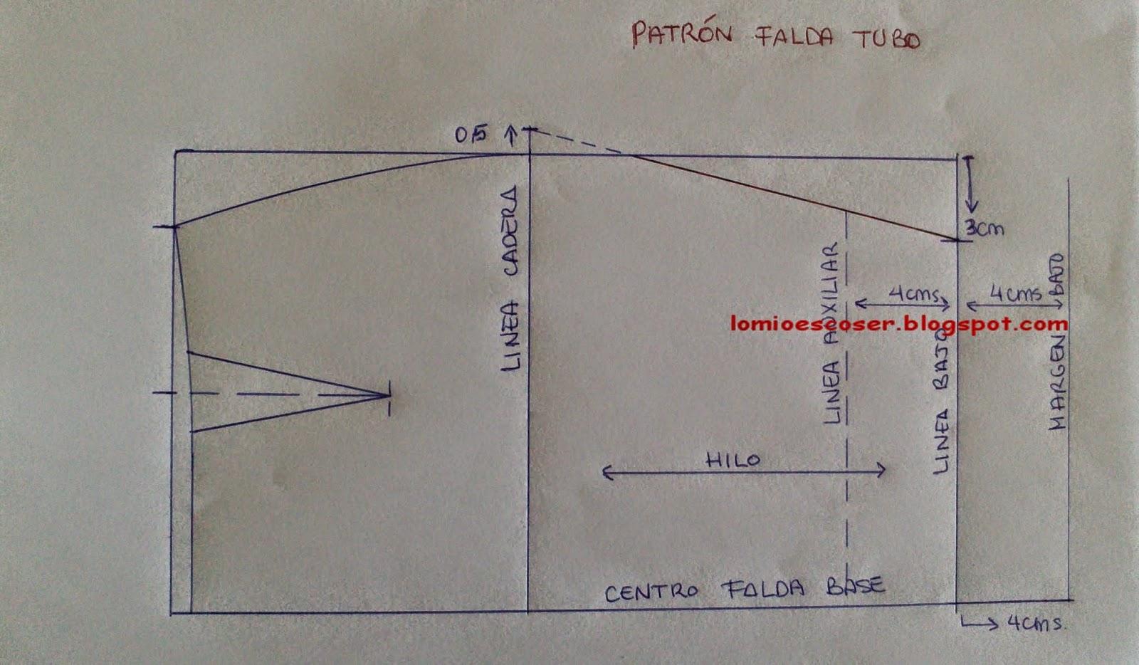 045b79b3a LO MIO ES COSER..... Y HACER PATRONES: Patrón falda lápiz o tubo