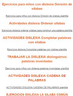 RECOPILATORIO DE EJERCICIOS PARA NIÑOS CON DISLEXIA