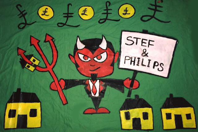 Protest banner created by residents of St Michael's Gate