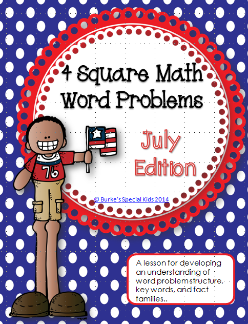 http://www.teacherspayteachers.com/Product/Four-Square-Math-Word-Problems-July-Edition-1306006