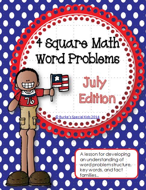 http://www.teacherspayteachers.com/Product/Four-Square-Math-Word-Problems-July-Edition-1306006