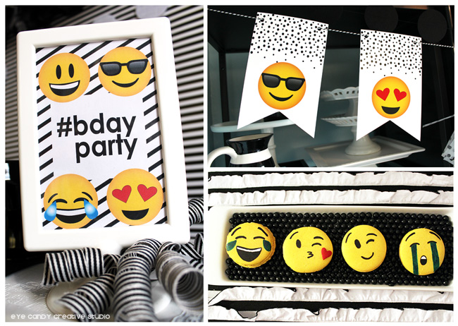 emoji bday party sign, emoji birthday banner, emoji macarons