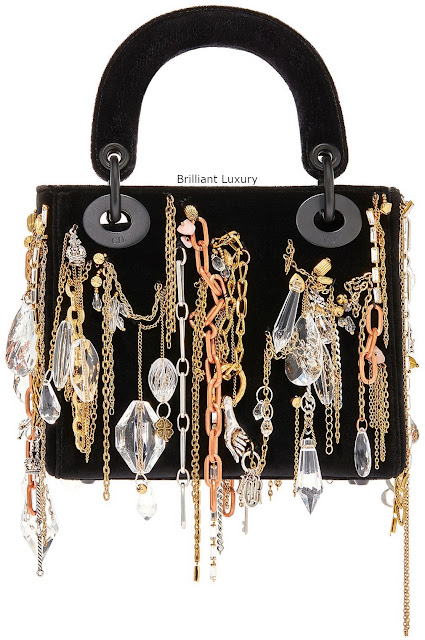 Brilliant Luxury♦Lady Dior bag, black velvet embroidered with chains-jewellery in ultra black finish metal, designer Isabelle Cornaro