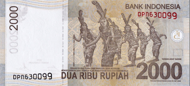 Indonesia money currency 2000 Rupiah banknote 2015 Traditional dance