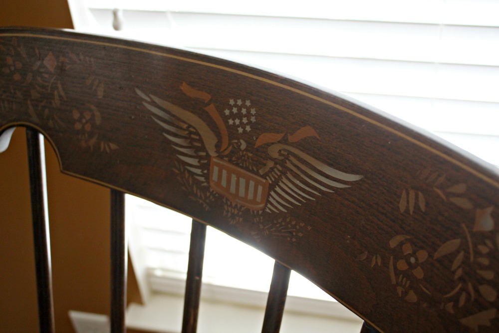 American Eagle motif on rocking chair