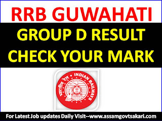 RRB Guwahati Group D Result 2018 Obtained Mark