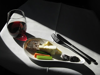 Dessert and port in ANA All Nippon Airways Business Class