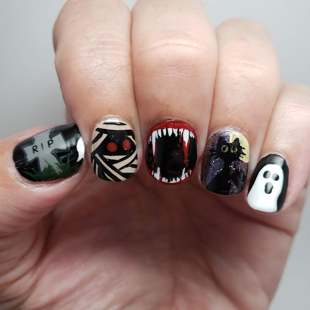 fall nails, Halloween nails, nail art, nail art recreation